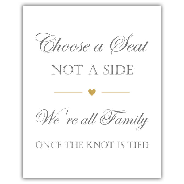 Choose a seat not a side sign - Gold - Dazzling Daisies
