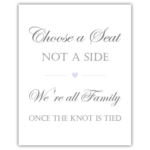 Choose a seat not a side sign - Lavender - Dazzling Daisies