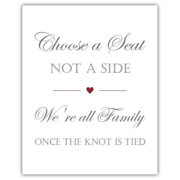 Choose a seat not a side sign - Maroon - Dazzling Daisies
