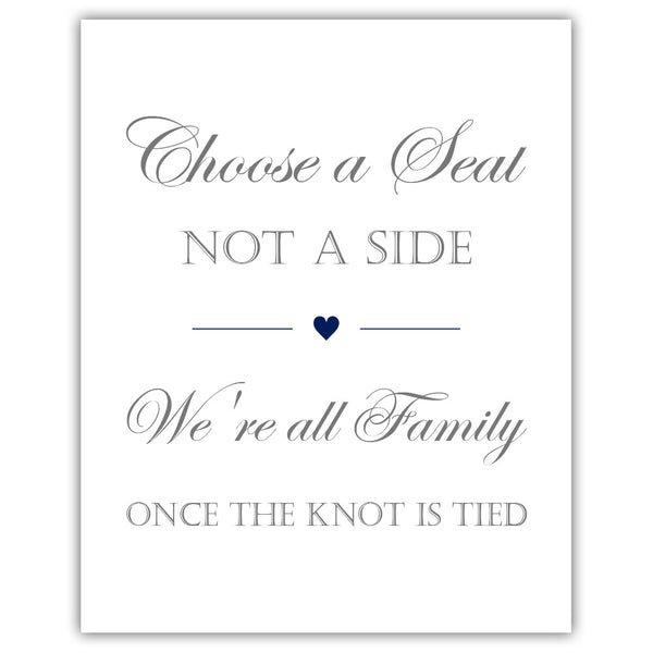 Choose a seat not a side sign - Navy - Dazzling Daisies