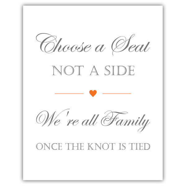 Choose a seat not a side sign - Orange - Dazzling Daisies