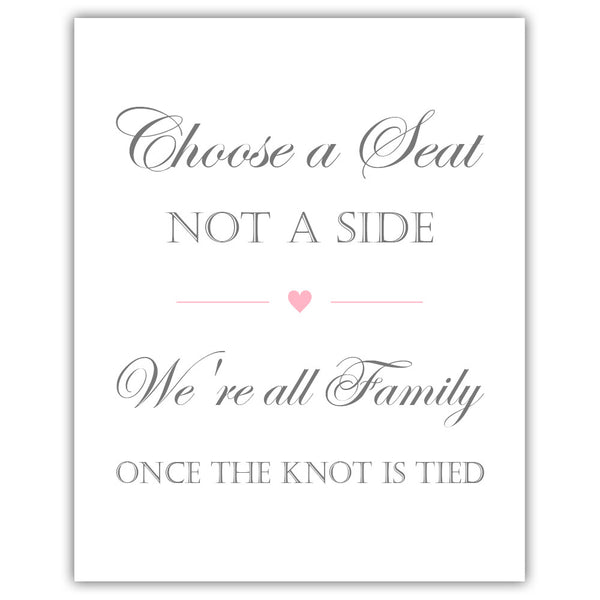 Choose a seat not a side sign - Pink - Dazzling Daisies