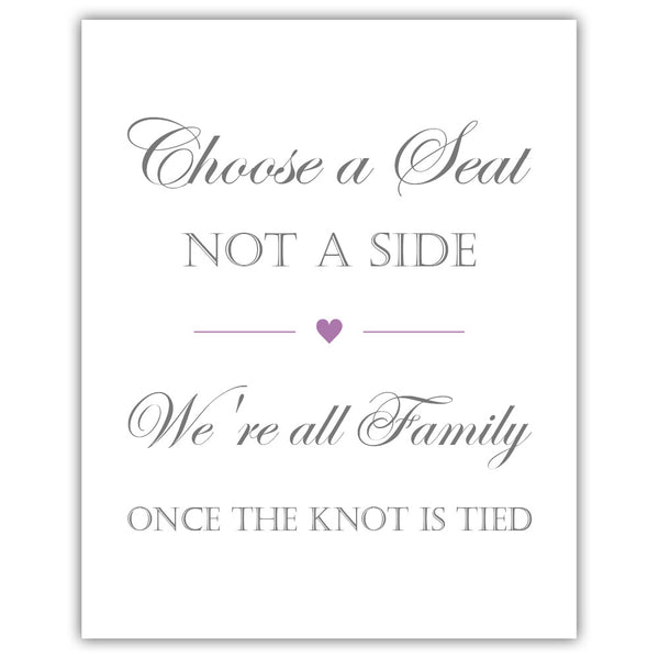 Choose a seat not a side sign - Plum - Dazzling Daisies