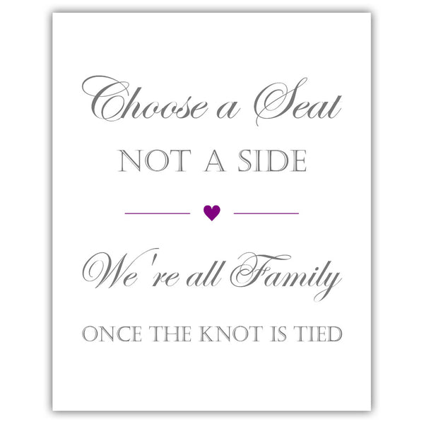 Choose a seat not a side sign - Purple - Dazzling Daisies