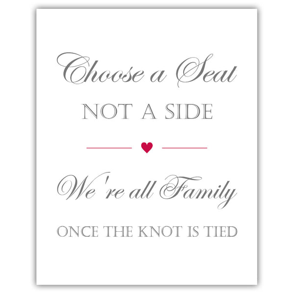 Choose a seat not a side sign - Raspberry - Dazzling Daisies