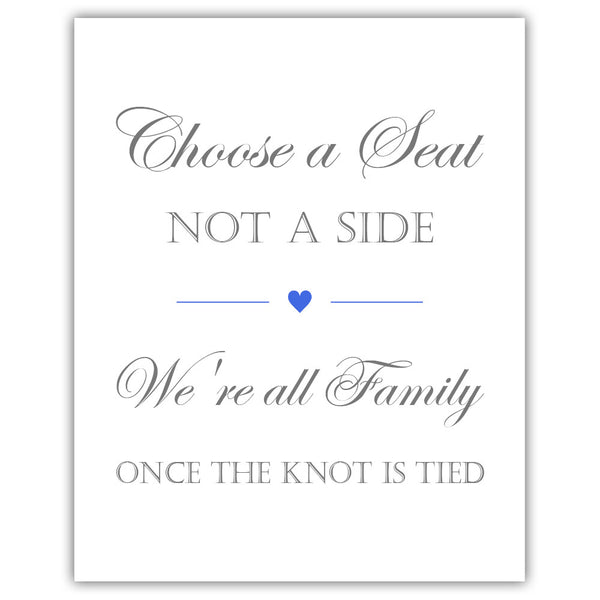 Choose a seat not a side sign - Royal blue - Dazzling Daisies