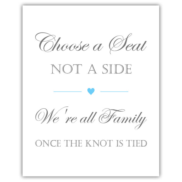 Choose a seat not a side sign - Sky blue - Dazzling Daisies