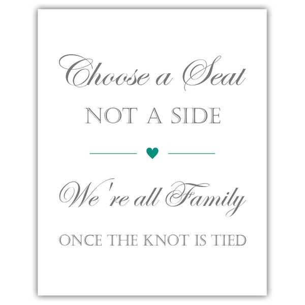 Choose a seat not a side sign - Teal - Dazzling Daisies