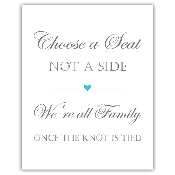 Choose a seat not a side sign - Turquoise - Dazzling Daisies