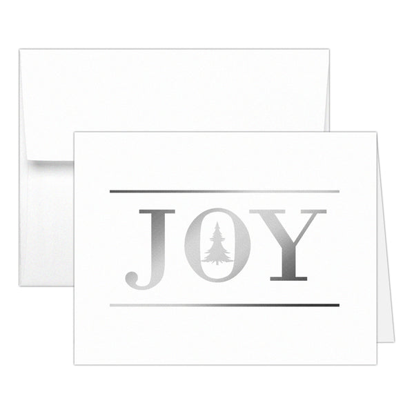 Christmas cards 'Oh Christmas Tree' - Joy / Silver foil - Dazzling Daisies