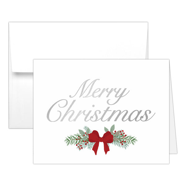 Christmas cards 'Pine Berries' - Silver foil - Dazzling Daisies