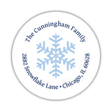 Round return address labels 'Snowflake Center' -  - Dazzling Daisies