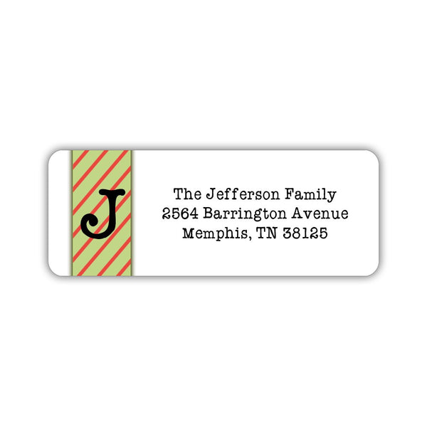 christmas return address labels stripes dazzling daisies