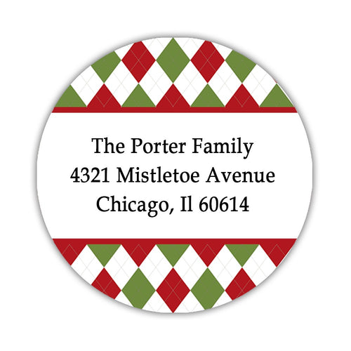Christmas return address labels 'Amazing Argyle' -  - Dazzling Daisies