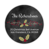 Christmas return address labels 'Vintage Holly' -  - Dazzling Daisies
