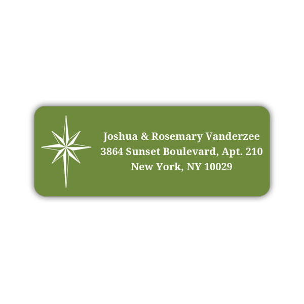 Christmas return address labels 'Star of Bethlehem' - Olive - Dazzling Daisies