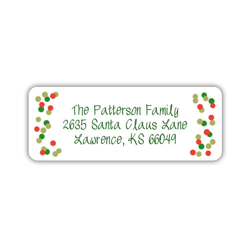 Christmas return address labels 'Polka dot Greens' -  - Dazzling Daisies
