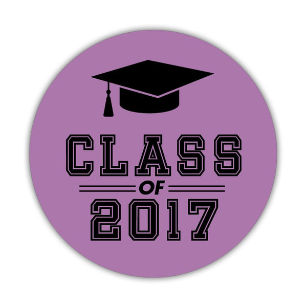"Graduation stickers 'Campus Champ' - 1.5"" circle = 30 labels per sheet / Plum - Dazzling Daisies"