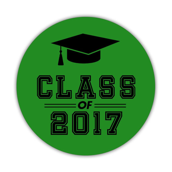 "Graduation stickers 'Campus Champ' - 1.5"" circle = 30 labels per sheet / Green - Dazzling Daisies"