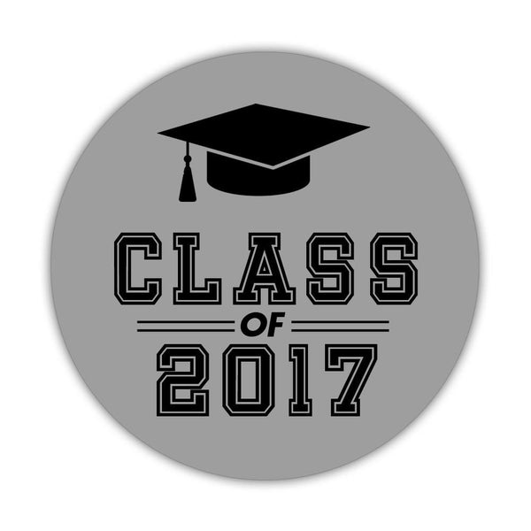 "Graduation stickers 'Campus Champ' - 1.5"" circle = 30 labels per sheet / Silver - Dazzling Daisies"