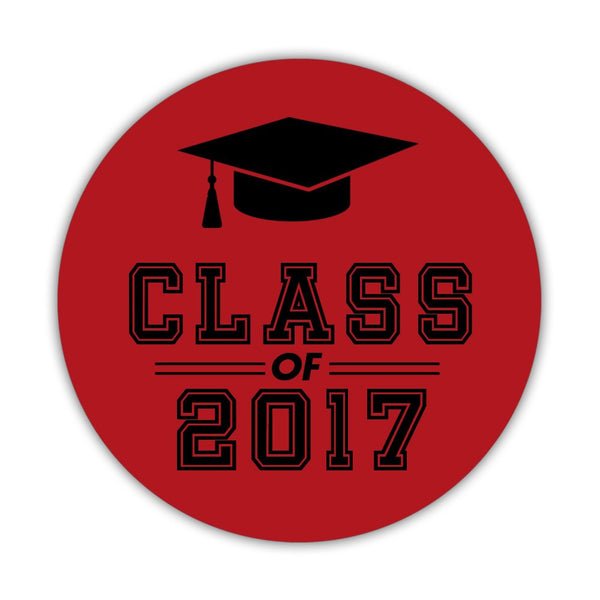 "Graduation stickers 'Campus Champ' - 1.5"" circle = 30 labels per sheet / Indian red - Dazzling Daisies"