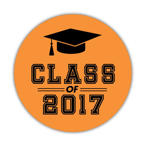 "Graduation stickers 'Campus Champ' - 1.5"" circle = 30 labels per sheet / Orange - Dazzling Daisies"