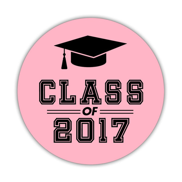 "Graduation stickers 'Campus Champ' - 1.5"" circle = 30 labels per sheet / Pink - Dazzling Daisies"