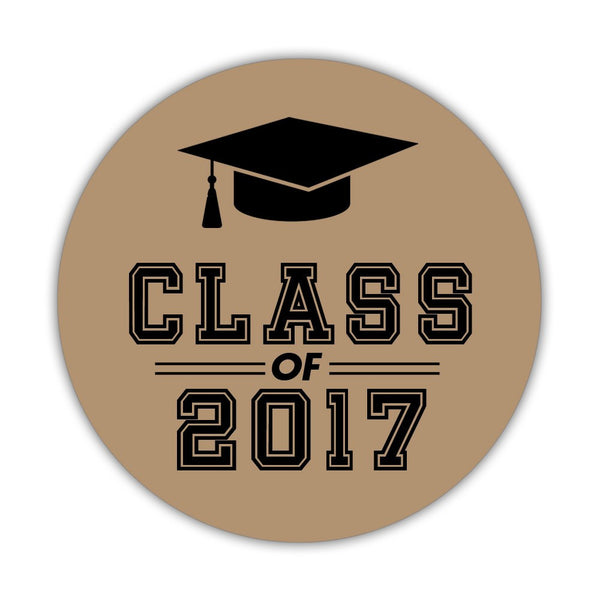 "Graduation stickers 'Campus Champ' - 1.5"" circle = 30 labels per sheet / Sand - Dazzling Daisies"