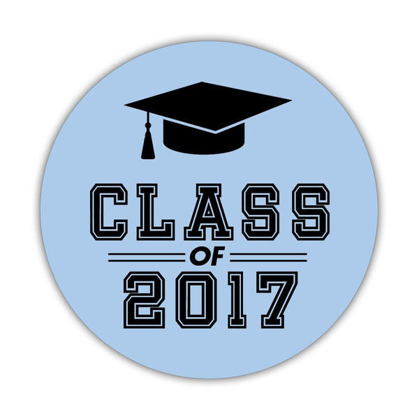 "Graduation stickers 'Campus Champ' - 1.5"" circle = 30 labels per sheet / Steel blue - Dazzling Daisies"