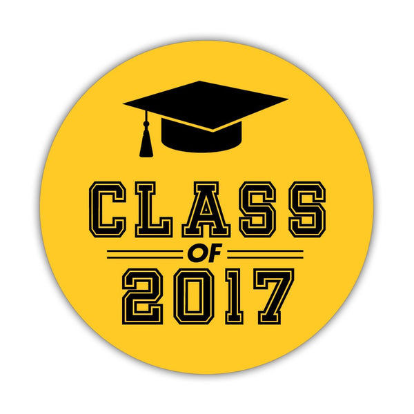 "Graduation stickers 'Campus Champ' - 1.5"" circle = 30 labels per sheet / Yellow - Dazzling Daisies"