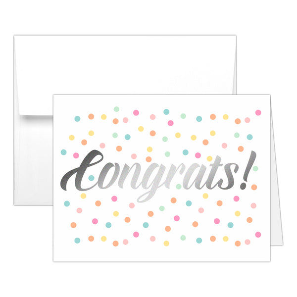 Congrats card 'Confetti Sprinkle' - Silver foil - Dazzling Daisies