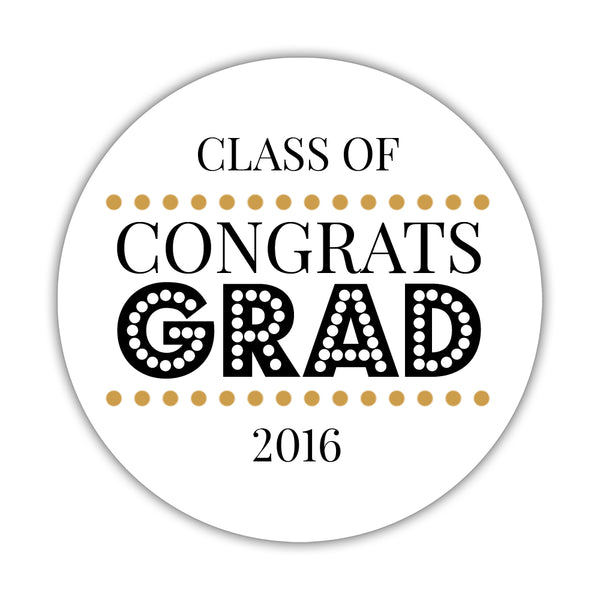 "Congrats grad stickers 'Disco Inferno' - 1.5"" circle = 30 labels per sheet / Gold - Dazzling Daisies"