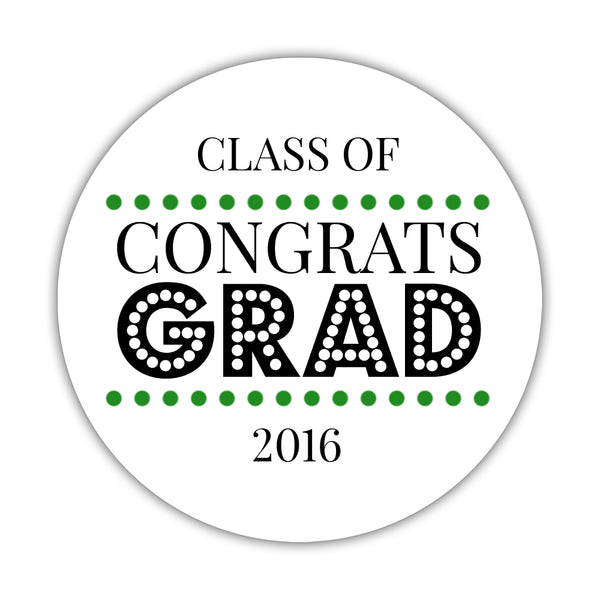 "Congrats grad stickers 'Disco Inferno' - 1.5"" circle = 30 labels per sheet / Green - Dazzling Daisies"