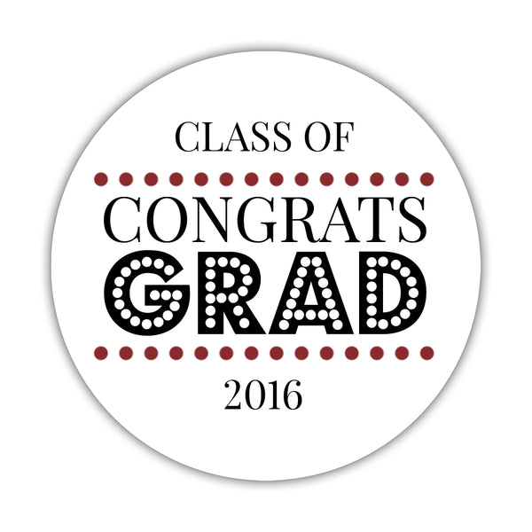 "Congrats grad stickers 'Disco Inferno' - 1.5"" circle = 30 labels per sheet / Maroon - Dazzling Daisies"