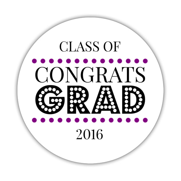 "Congrats grad stickers 'Disco Inferno' - 1.5"" circle = 30 labels per sheet / Purple - Dazzling Daisies"