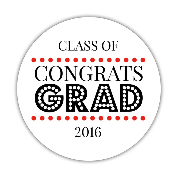 "Congrats grad stickers 'Disco Inferno' - 1.5"" circle = 30 labels per sheet / Red - Dazzling Daisies"