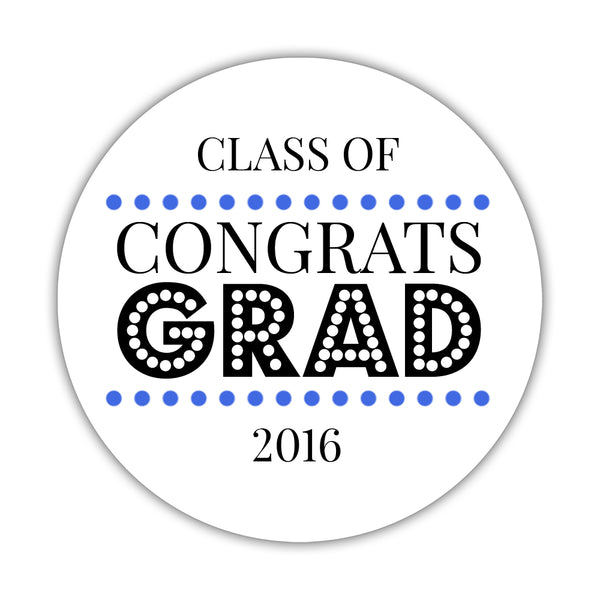 "Congrats grad stickers 'Disco Inferno' - 1.5"" circle = 30 labels per sheet / Royal blue - Dazzling Daisies"