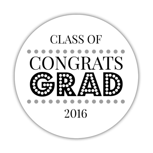 "Congrats grad stickers 'Disco Inferno' - 1.5"" circle = 30 labels per sheet / Silver - Dazzling Daisies"