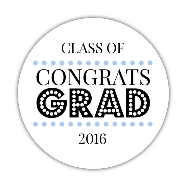 "Congrats grad stickers 'Disco Inferno' - 1.5"" circle = 30 labels per sheet / Steel blue - Dazzling Daisies"