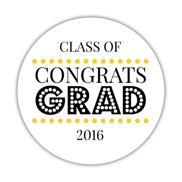 "Congrats grad stickers 'Disco Inferno' - 1.5"" circle = 30 labels per sheet / Yellow - Dazzling Daisies"