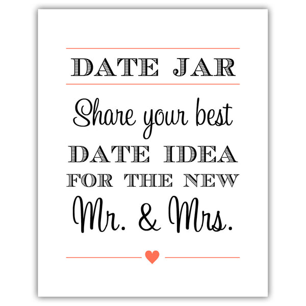 "Date jar sign - 5x7"" / Coral - Dazzling Daisies"