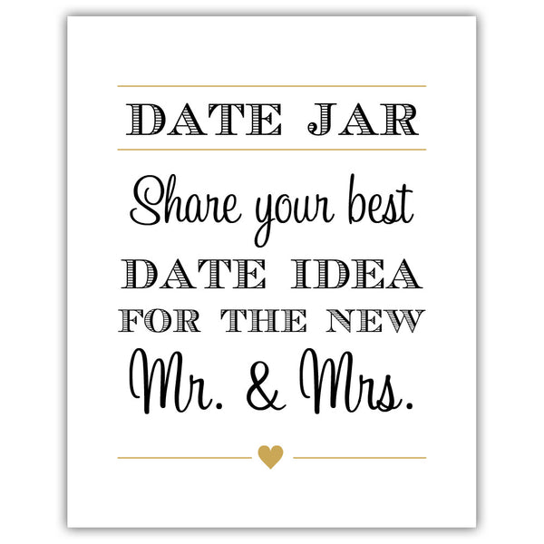 "Date jar sign - 5x7"" / Gold - Dazzling Daisies"