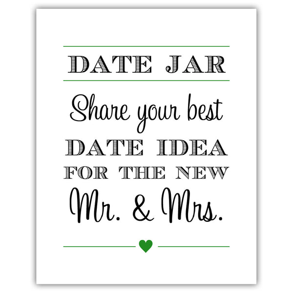 "Date jar sign - 5x7"" / Green - Dazzling Daisies"