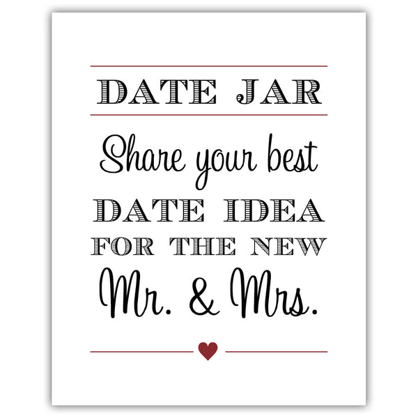 "Date jar sign - 5x7"" / Maroon - Dazzling Daisies"