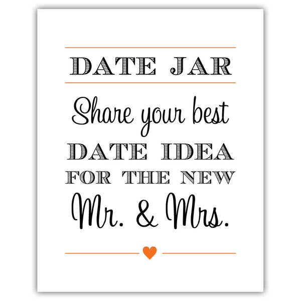"Date jar sign - 5x7"" / Orange - Dazzling Daisies"