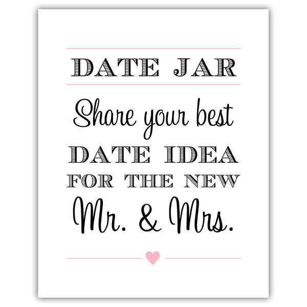 "Date jar sign - 5x7"" / Pink - Dazzling Daisies"