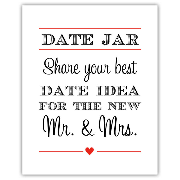 "Date jar sign - 5x7"" / Red - Dazzling Daisies"