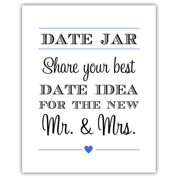 "Date jar sign - 5x7"" / Royal blue - Dazzling Daisies"