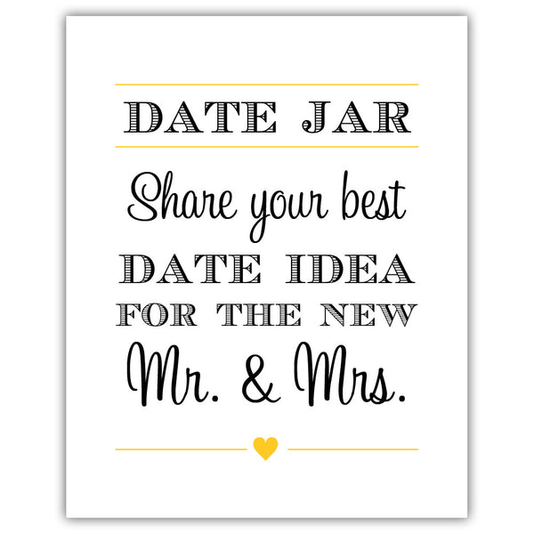 "Date jar sign - 5x7"" / Yellow - Dazzling Daisies"