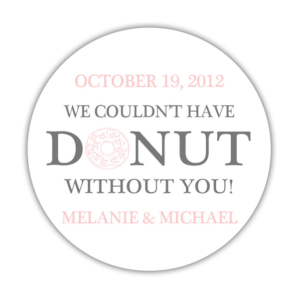 "Donut favor stickers - 1.5"" circle = 30 labels per sheet / Gray/Blush - Dazzling Daisies"